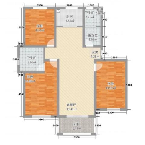 玫瑰花城3室2厅2卫1厨122.00㎡户型图