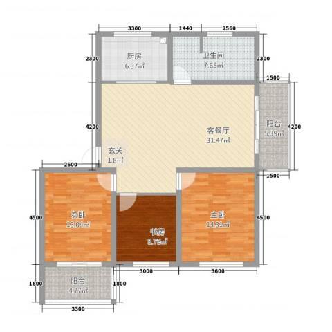 玫瑰花城3室1厅1卫1厨91.77㎡户型图