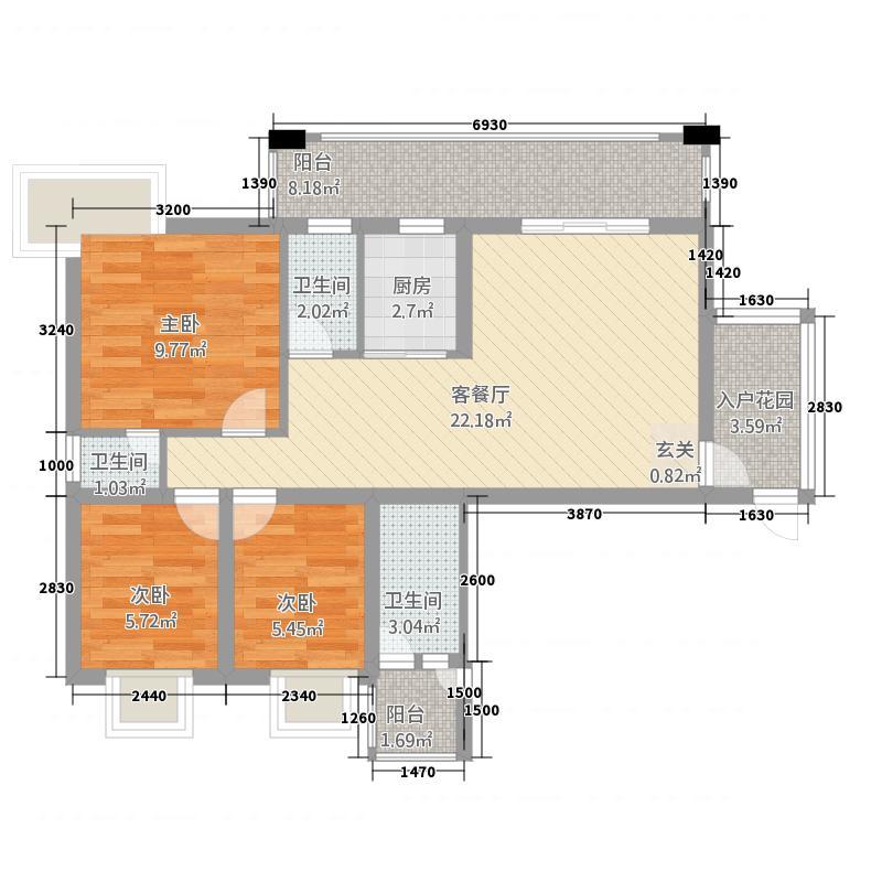 朗晴海岸9栋悦江 园景三房 3室2厅2卫1厨 96.00㎡