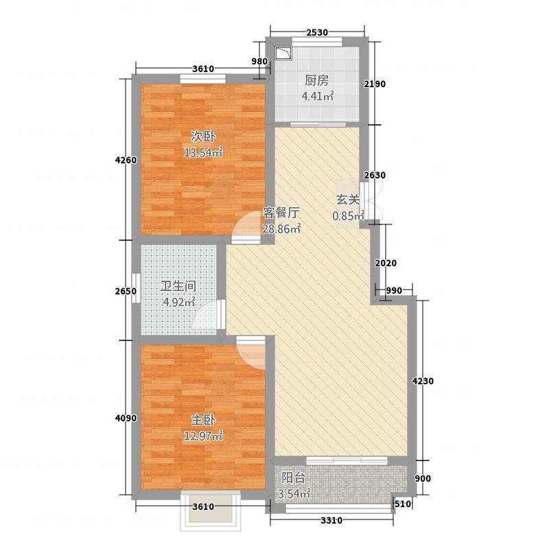 枫庭金域8.13㎡全明户型2室2厅1卫1厨