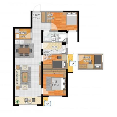 华远海蓝城3室1厅1卫1厨105.00㎡户型图
