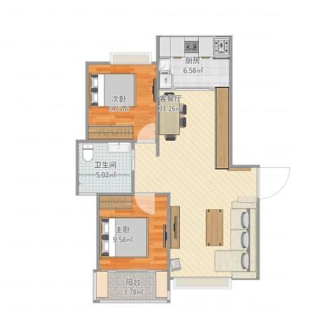 康桥半岛城中花园2室1厅1卫1厨89.00㎡户型图