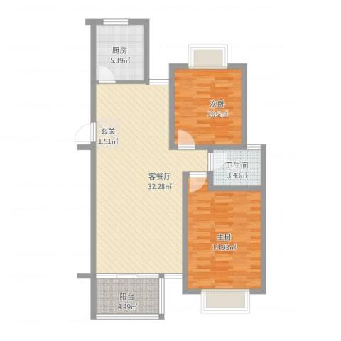 东盛花园2室1厅1卫1厨101.00㎡户型图
