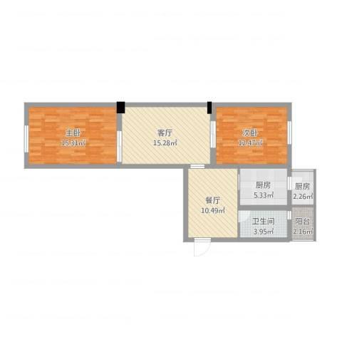 松风西里2室2厅1卫2厨98.00㎡户型图