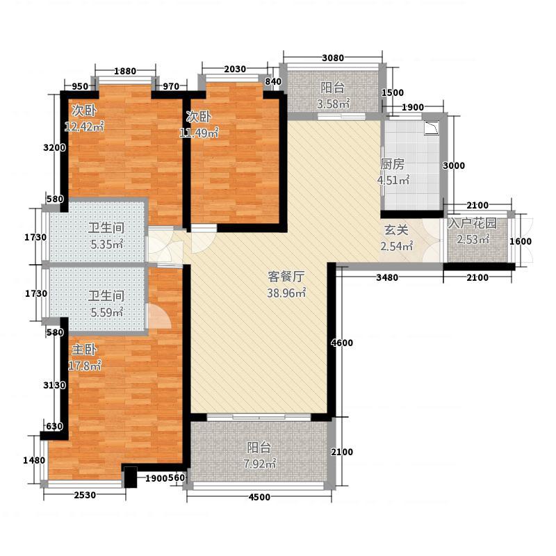 新域盛景134.67㎡D1户型3室2厅2卫1厨