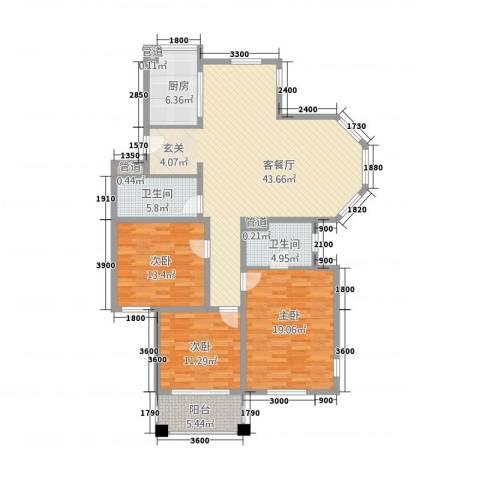 百合新城(海宁)3室1厅2卫1厨157.00㎡户型图