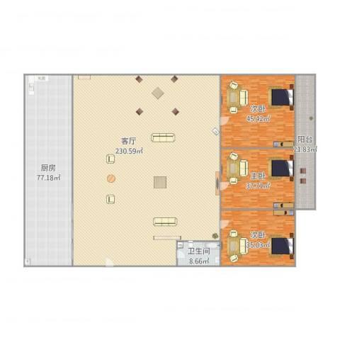 中环花园3室1厅1卫1厨587.00㎡户型图
