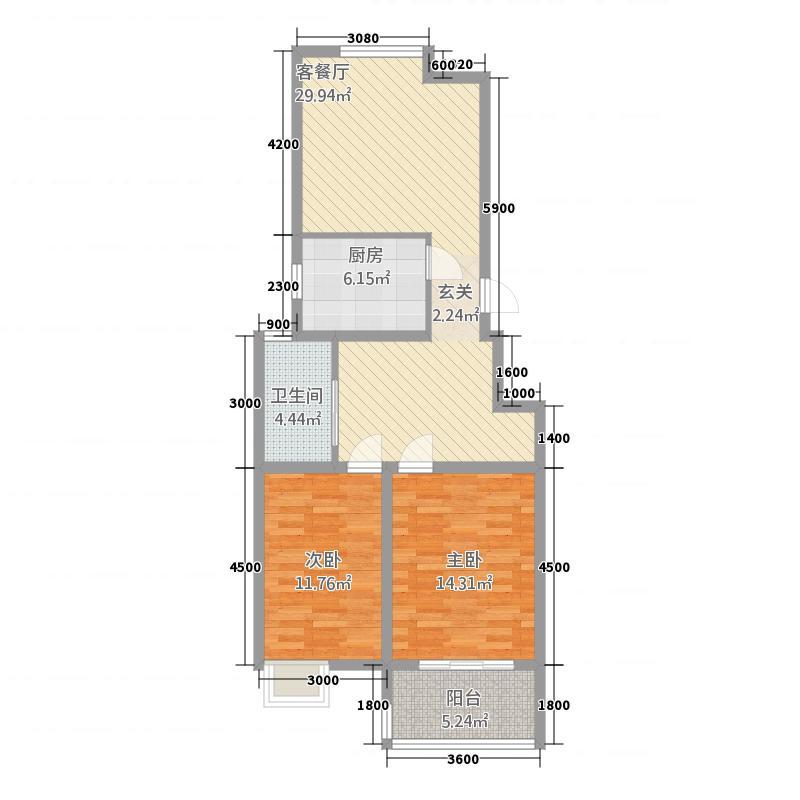 东城雅筑6.48㎡D户型2室2厅1卫1厨