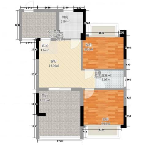 雅庭豪苑2室1厅1卫1厨84.00㎡户型图