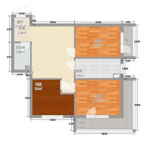 城市经典3室1厅1卫1厨135.00㎡户型图