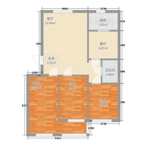 泊阑地3室2厅1卫1厨95.00㎡户型图
