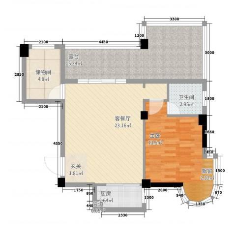利玛・国际锦苑1室1厅1卫1厨90.00㎡户型图