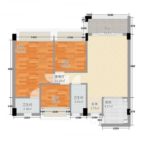 东海名都3室1厅2卫1厨88.00㎡户型图