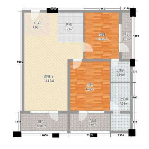 阳光半岛国际公寓二期2室1厅2卫0厨143.00㎡户型图