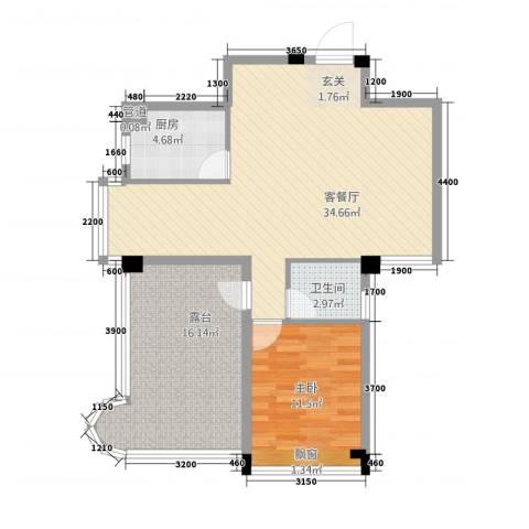 利玛・国际锦苑1室1厅1卫1厨98.00㎡户型图