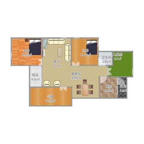 花园新村3室1厅1卫1厨137.00㎡户型图