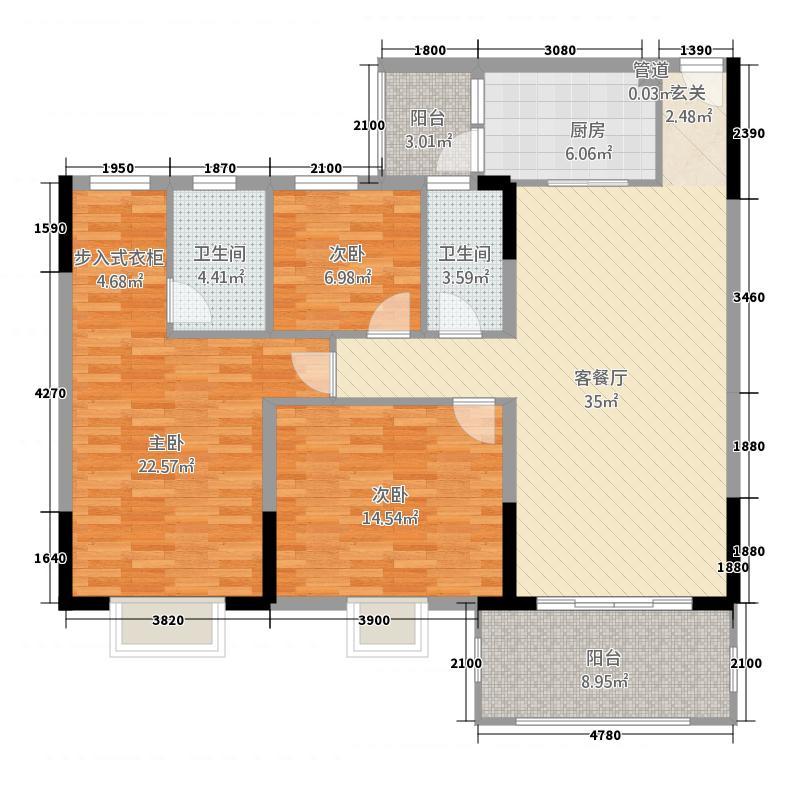 海骏达海伦堡03户型3室2厅2卫1厨