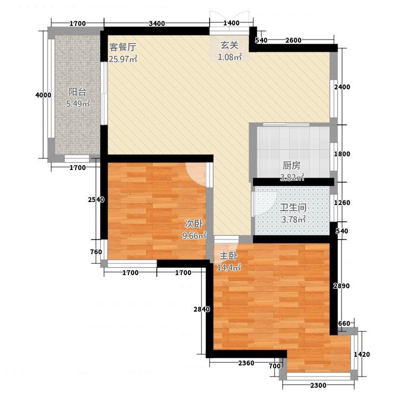 蔚蓝花城84.36㎡20号楼-A9户型2室2厅1卫1厨