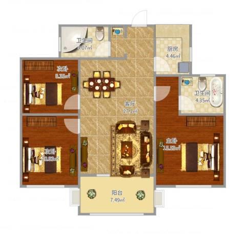 东山国际3室1厅2卫1厨111.00㎡户型图