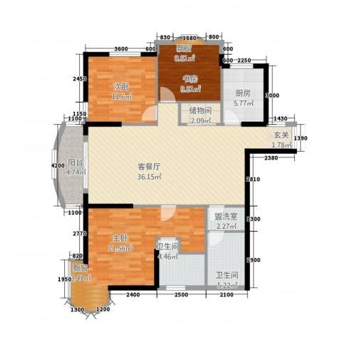 利玛・国际锦苑3室2厅2卫1厨144.00㎡户型图