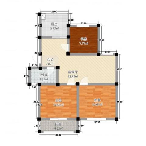恒通大厦3室1厅1卫1厨102.00㎡户型图