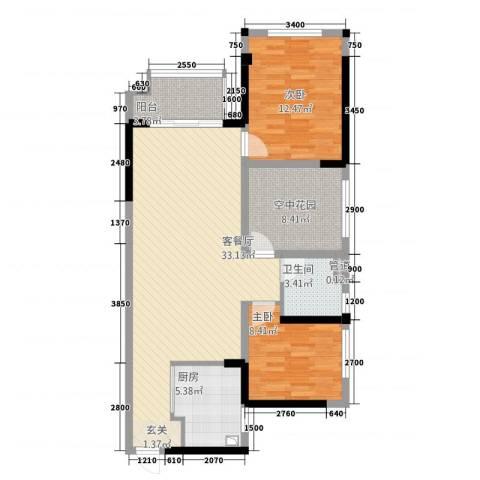 湘楚名园2室1厅1卫1厨108.00㎡户型图