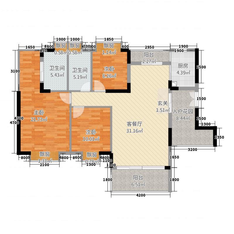 每一间117.40㎡B2户型3室2厅2卫