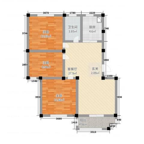 恒通大厦3室1厅1卫1厨108.00㎡户型图