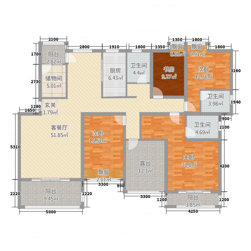 拉菲山庄18.00㎡户型5室2厅3卫1厨
