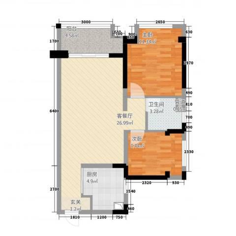 湘楚名园2室1厅1卫1厨85.00㎡户型图