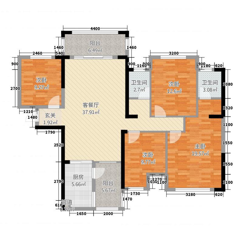 中央花园112.14㎡1#楼3单元02号房3室户型3室2厅2卫1厨