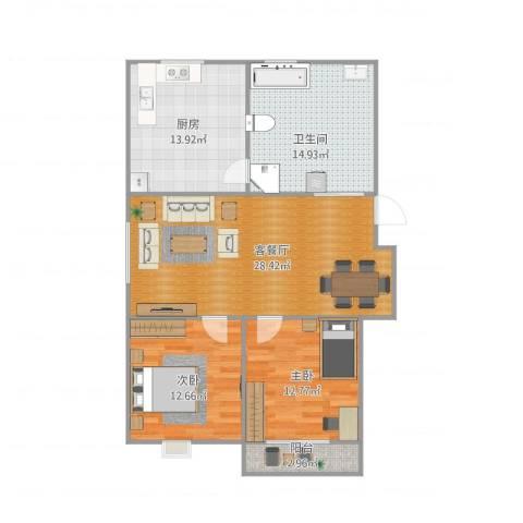 科润银河花园2室1厅1卫1厨114.00㎡户型图
