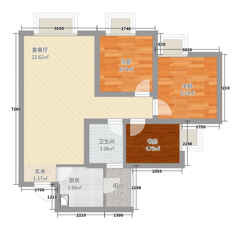 A:3室2厅1卫 76.28