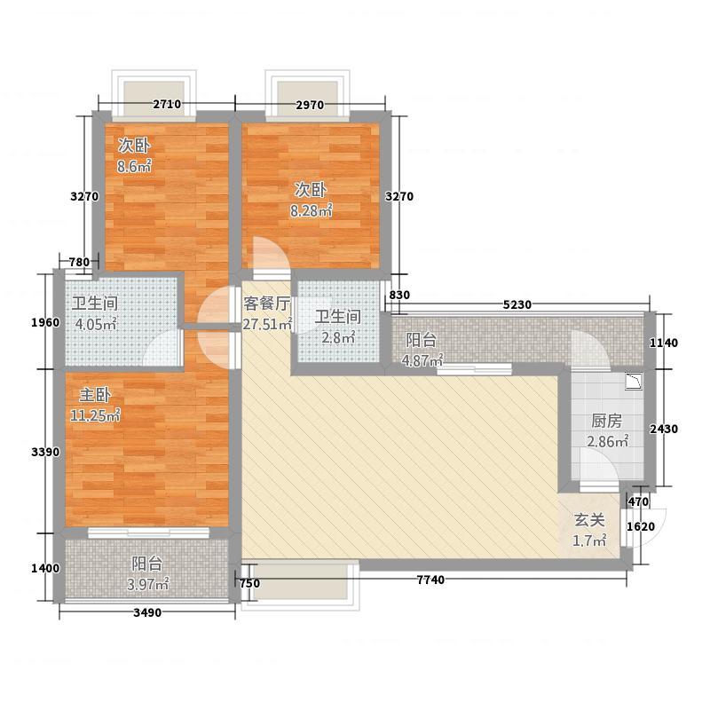C:3室2厅2卫 108