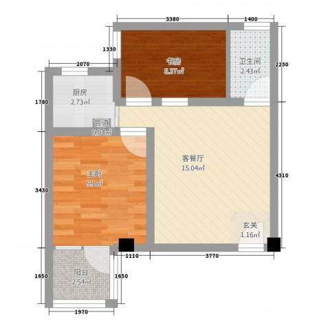 明珠东苑2室1厅1卫1厨57.00㎡户型图