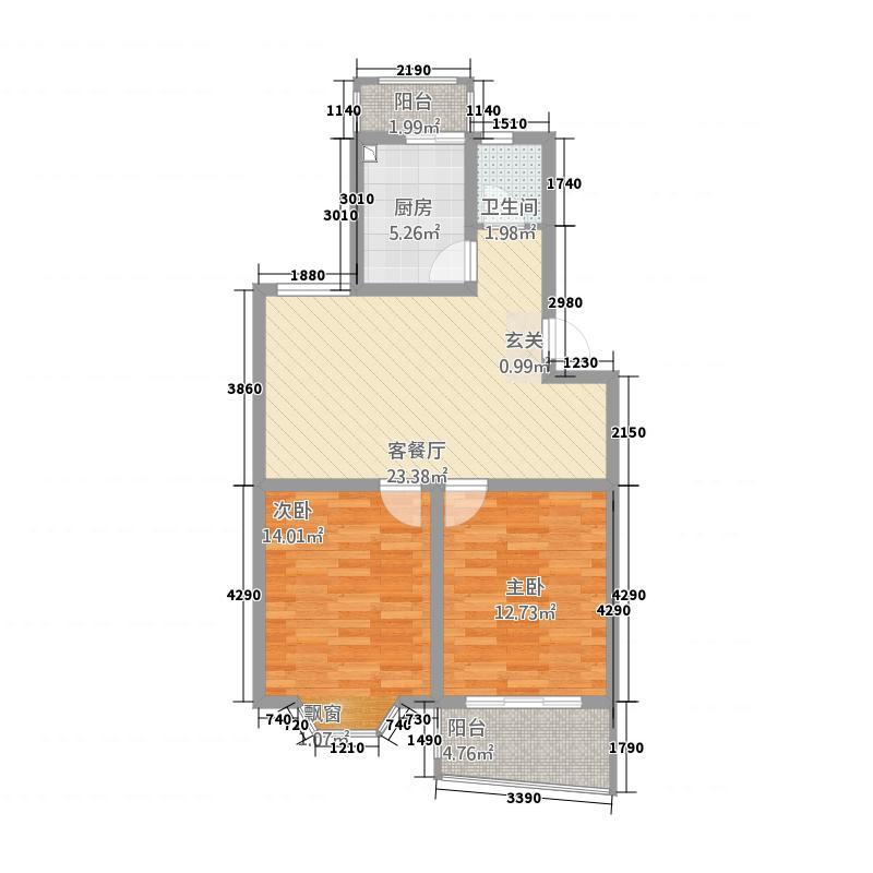 盘城公寓2.00㎡户型2室