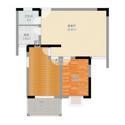 景泰东街小区1室1厅1卫1厨96.00㎡户型图