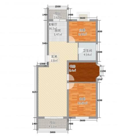 水榭华庭3室1厅1卫0厨110.00㎡户型图
