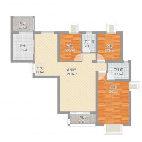 拉德芳斯3室1厅2卫1厨103.00㎡户型图