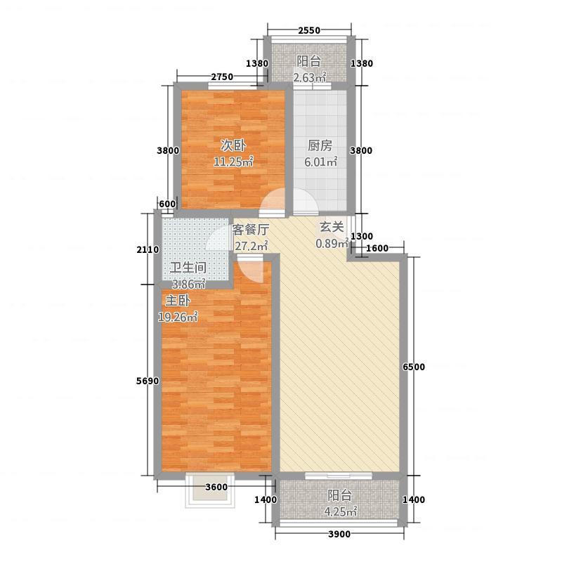 水榭华庭6.36㎡户型2室