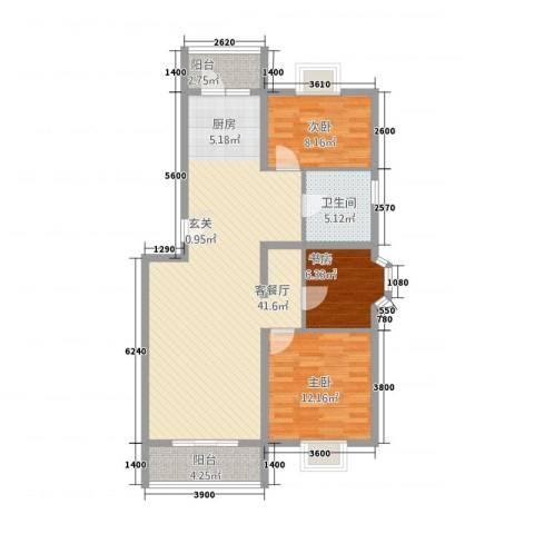 水榭华庭3室1厅1卫0厨80.37㎡户型图