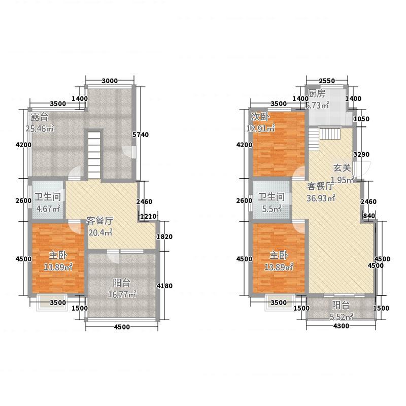 天元棠樾湖居162.44㎡A2复式户型3室3厅2卫1厨