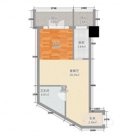 曼哈顿国际1厅1卫1厨65.00㎡户型图