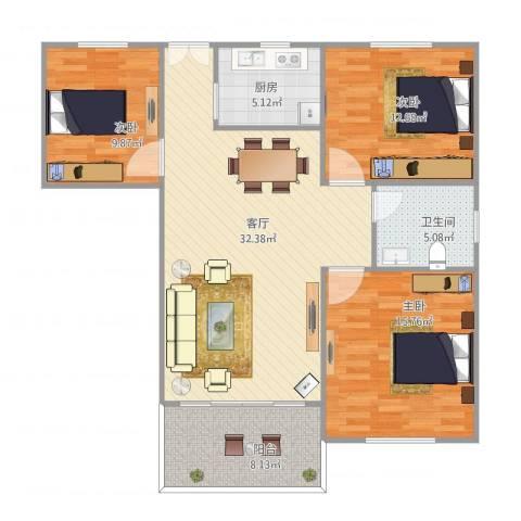 侨建花园3室1厅1卫1厨119.00㎡户型图