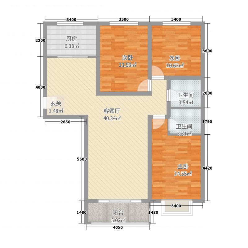 慧海星光苑134.64㎡D3户型3室2厅