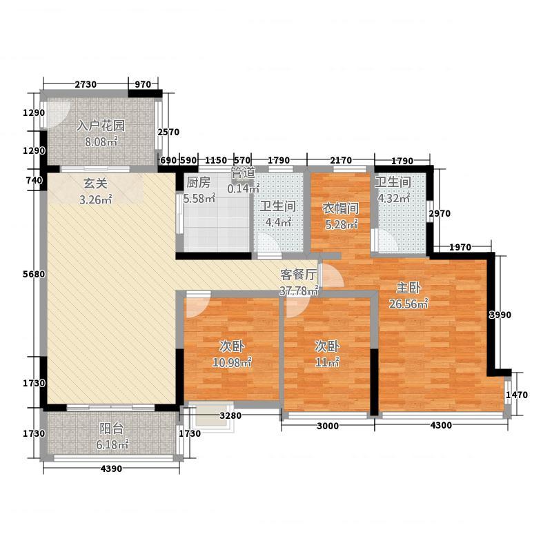 棕榈四季128.00㎡2栋0户型3室2厅2卫1厨