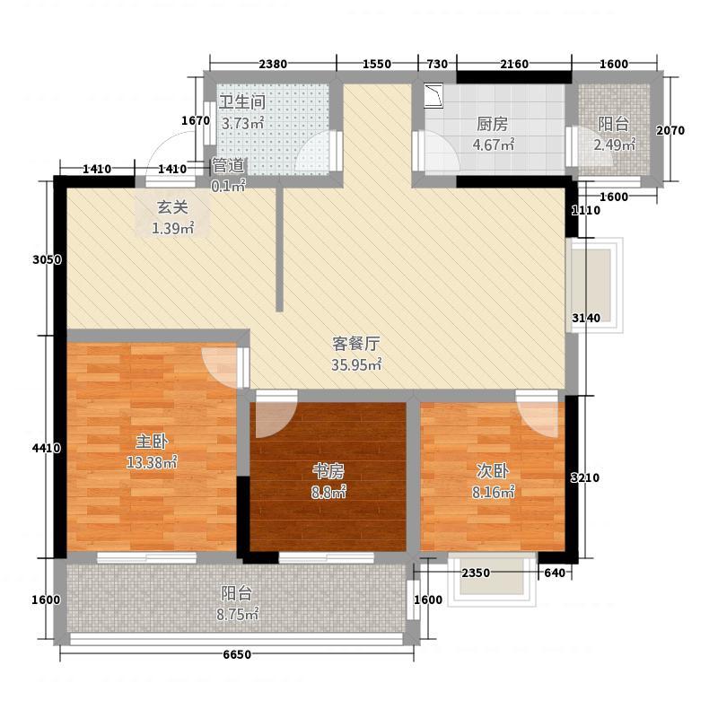 阳明国际124.00㎡户型1室