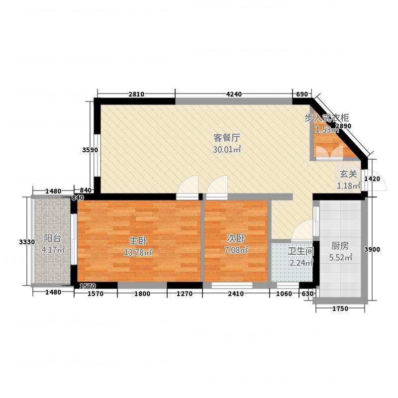 郑和国际6.00㎡一期04栋5-32J户型2室2厅1卫1厨