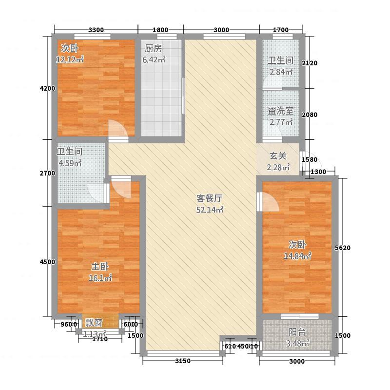 世纪嘉园13.88㎡D标户型3室2厅1卫1厨