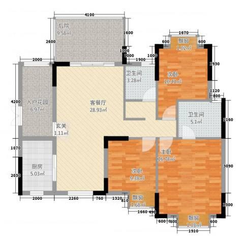 江南名居南区锦苑3室1厅2卫1厨116.00㎡户型图